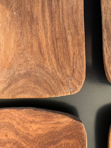 Ensemble de 6 assiettes et ses plats en bois