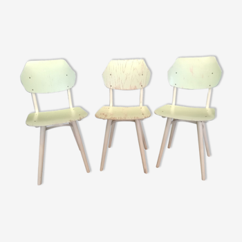 Suite de 3 chaises vertes Ton 1960