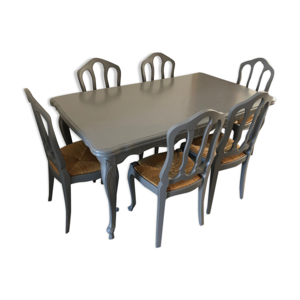 Table et 6 chaises en merisier