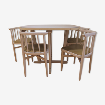 Table et chaises encastrables Thonet années 60