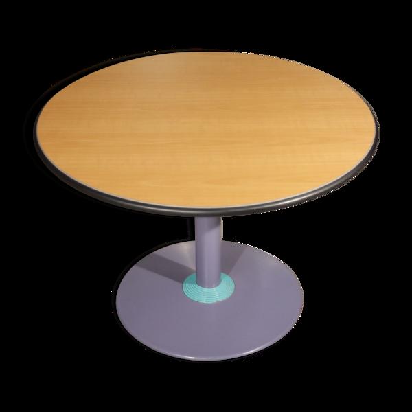 Table de salle à manger style memphis en acier et mélamine, 1980s