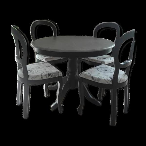 Table avec rallonge et 4 chaises en merisier