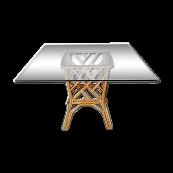 Selency Table carré en verre avec base en rotin