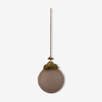 Globe suspension art déco rose