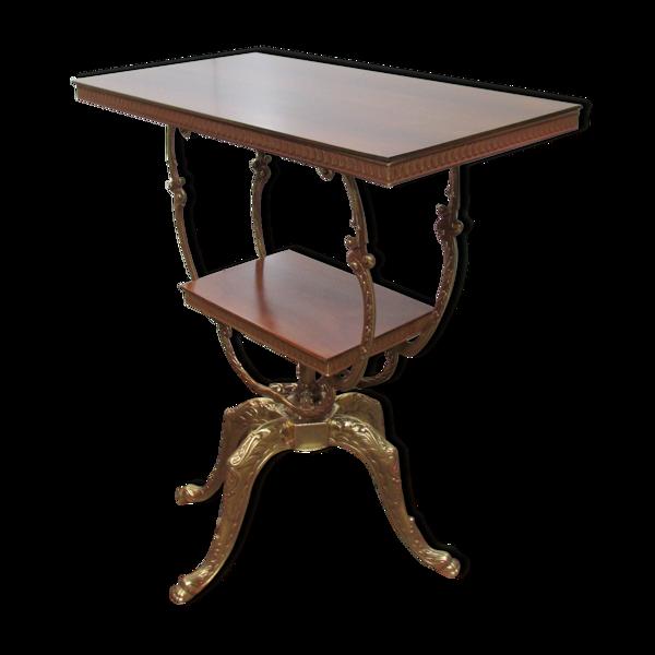 Table console guéridon pivotant en bronze et noyer