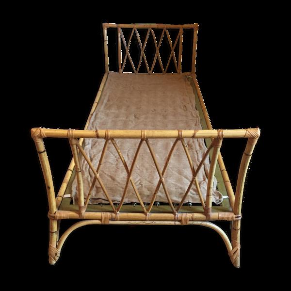 Lit en bambou et rotin des années 60