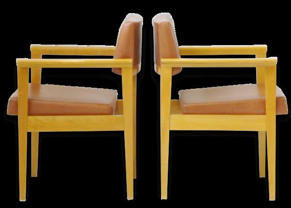 Selency Paire de fauteuils 1950 skai marron & chêne vintage 50's