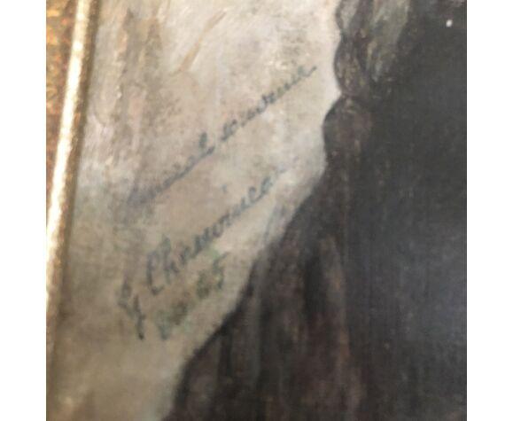 Tableau huile sur panneau représentant une jeune ibérique