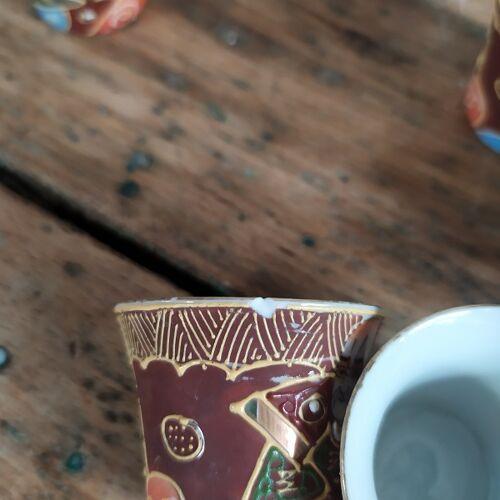 Service saqué porcelaine visage chant oiseau geisha ancien Japonais Vaisselle Brocanteespritdantan