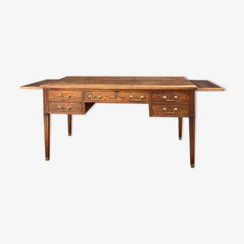 Bureau plat double face en bois naturel de style Louis XVI XIX eme siècle