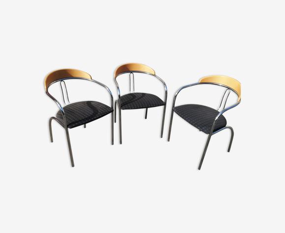 Set de 3 chaises vintage tissu bleu