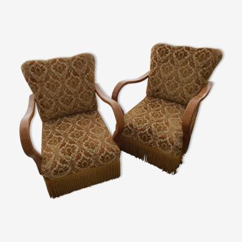 Paire de fauteuils art deco année 50 vintage