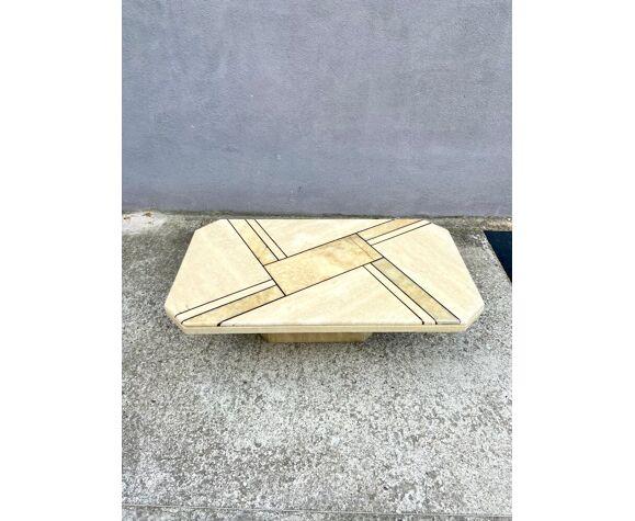 Table basse en travertin et onyx années 80