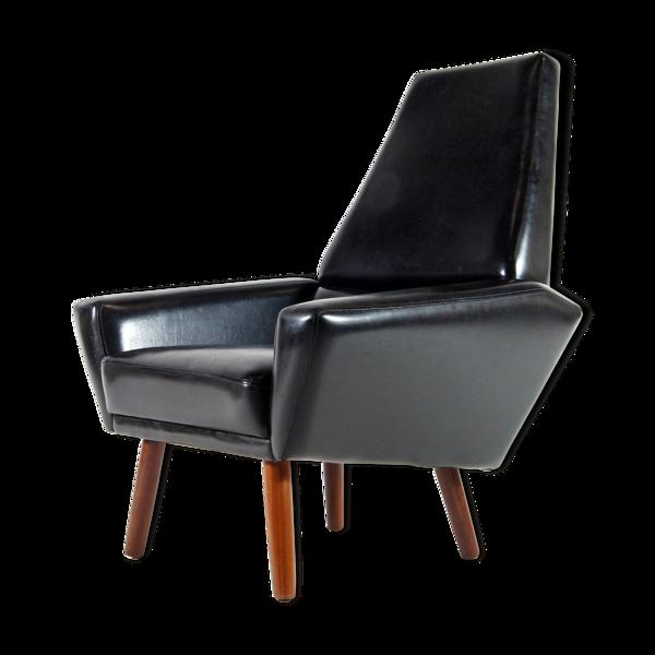 Fauteuil de salon danois en teck et faux cuir années 60