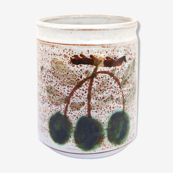 Pot en céramique et ses cerises de Michel Barbier, Vallauris