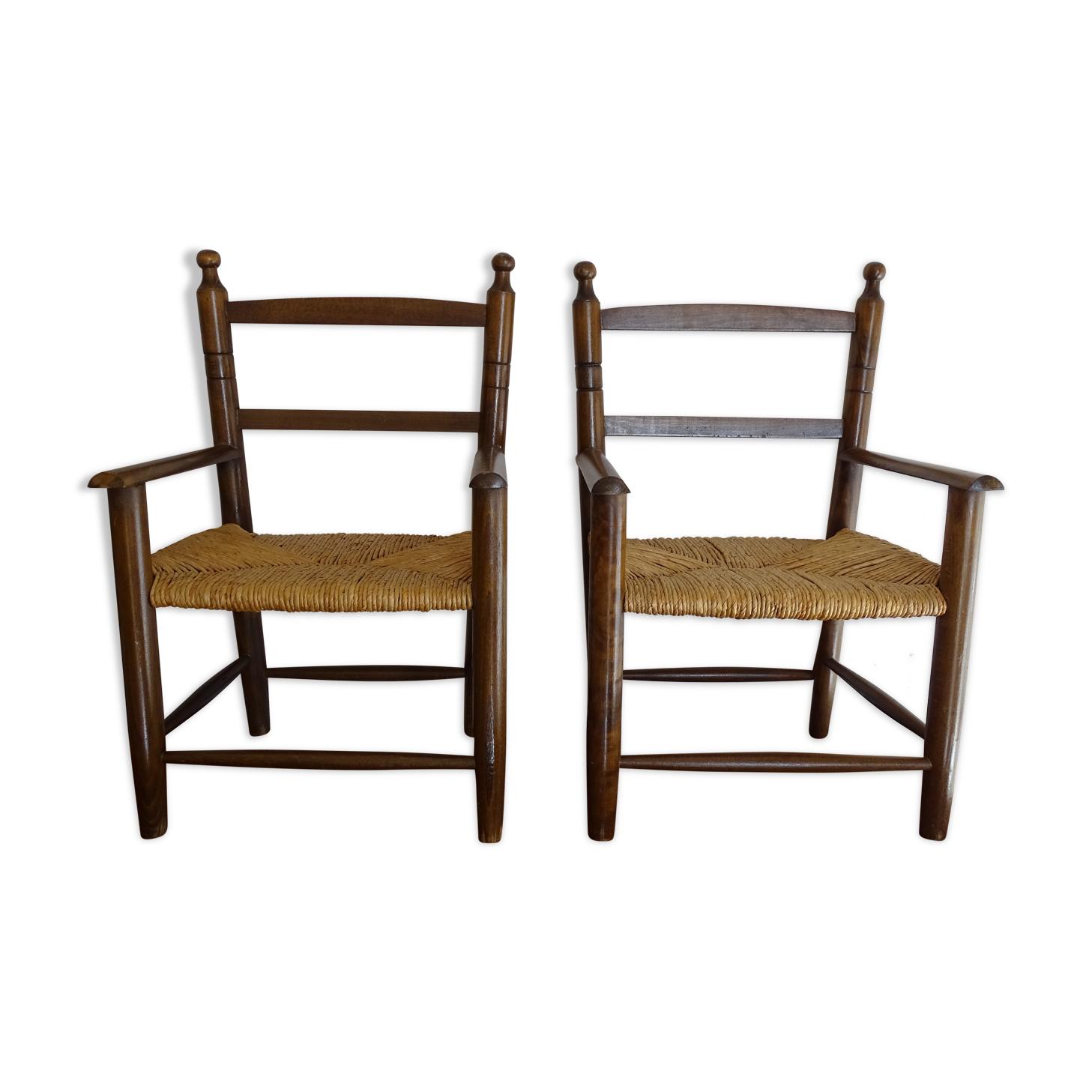 Paire de chaises paillées enfant en bois