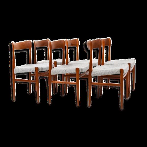 Selency Ensemble de six chaises danoises en forme organique du milieu du siècle en teck massif