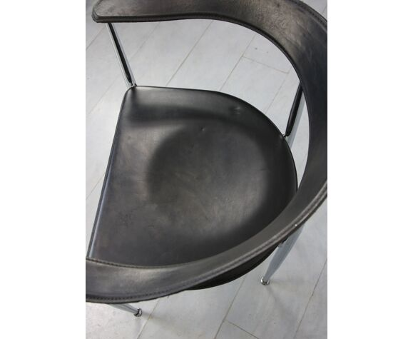 Chaises en cuir italien, années 1970