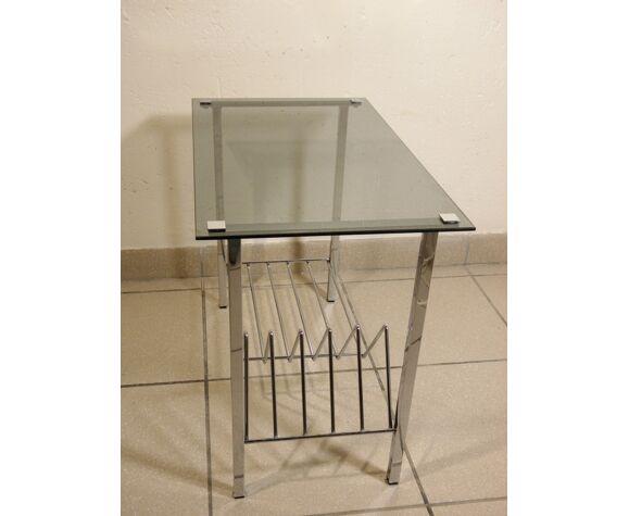 Table basse métal chromé et verre 1970