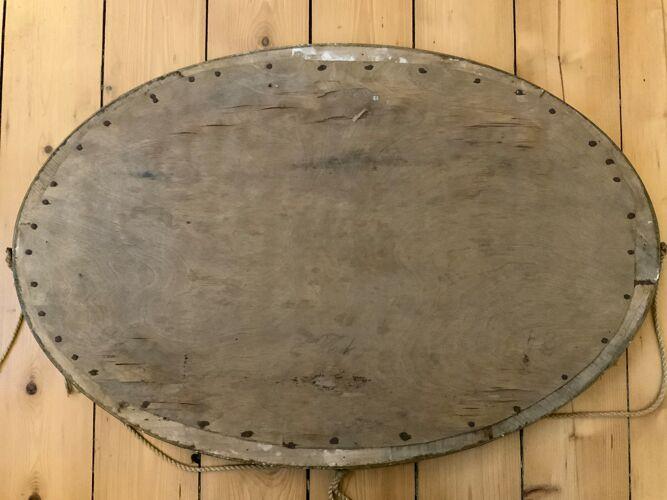 Miroir biseauté cadre bois art déco - 62x41cm