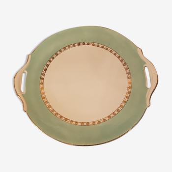 Plat vintage ø27 cm porcelaine sarreguemines flameco vert
