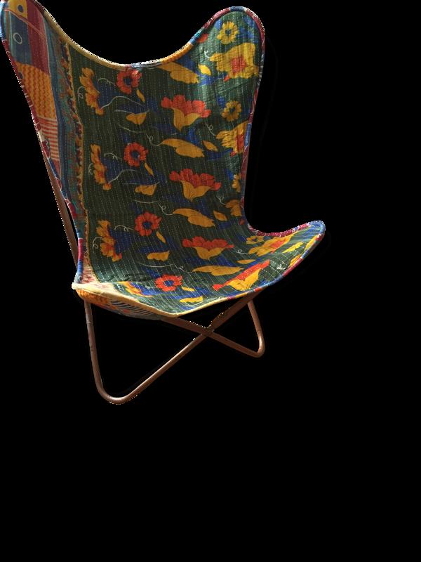 Chaise papillon coton et métal