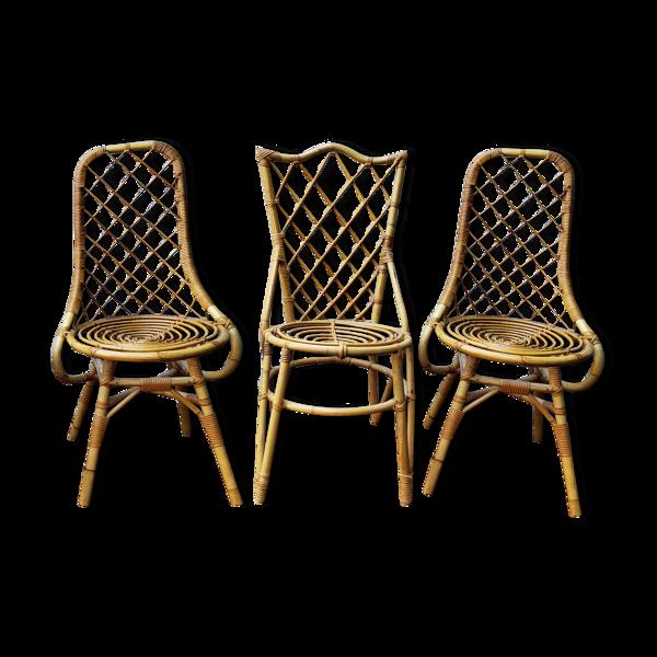 3 chaises en rotin Louis Sognot