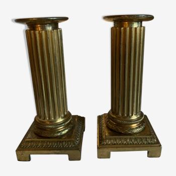 Paire de bougeoirs anciens en bronze