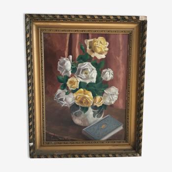 Peinture a l'huile sur panneau fleurs art déco