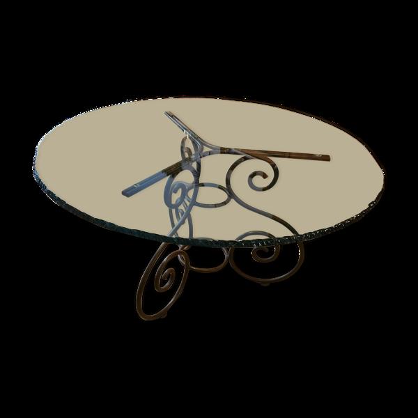 Selency Table en verre et fer forgé