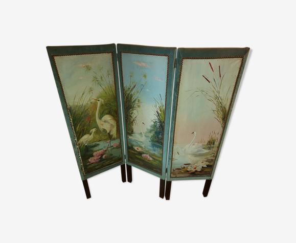 Paravent 3 feuilles décor art nouveau huile sur toile signé roux