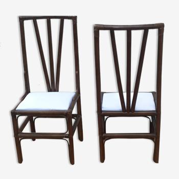 Paire de chaises en canne des Philippines