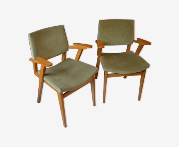 Paire de fauteuils bridge années 60