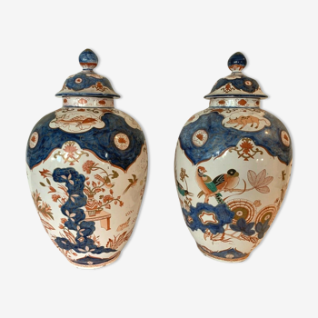 Pair of potiches covered in polychrome earthenware with decoration China / Japan XX century