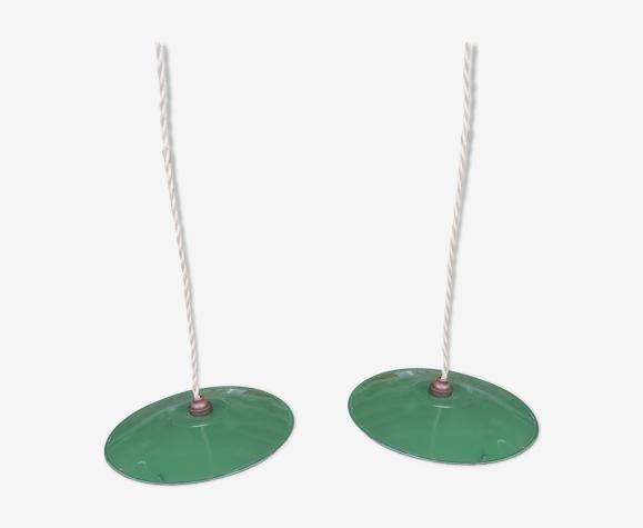 Pair of industrial suspensions in green enamelled sheet metal