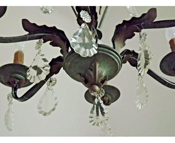 Lustre Art nouveau en bronze et fer vert