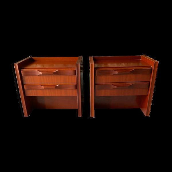 2 tables de chevet - 2 tiroirs+ lumière -gautier 1970's