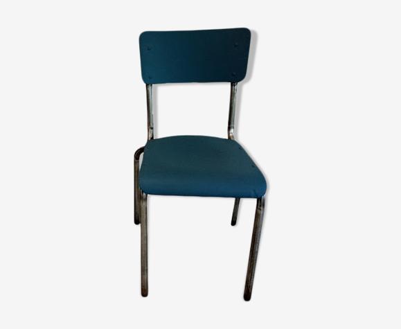 Chaise d'école bleue orage