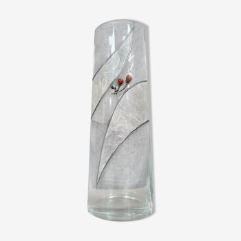 Krakoce leyspianski  prestigieux long vase ovoïde oblong à décor de marqueterie de verre