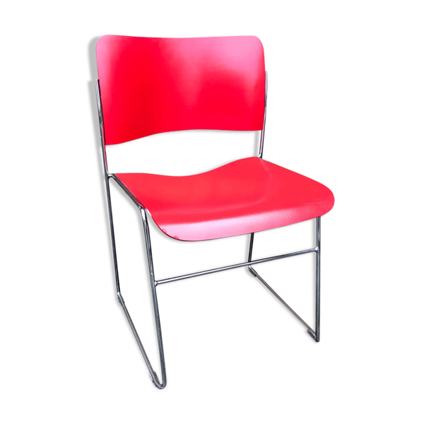 Chaise rouge David Rowland pour Seid International années 60