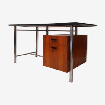 Bureau moderniste teck et métal chromé ca 1960