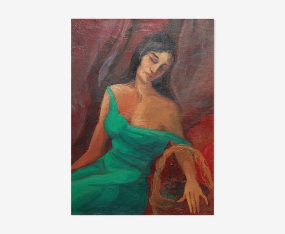 "Peinture de Jean Goujon ""jeune femme à la robe verte"""