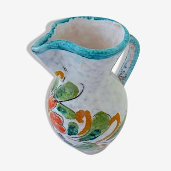 Pichet en céramique de Vallauris ou de Monaco à décor floral