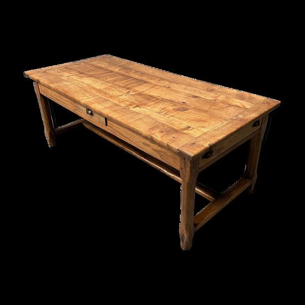 Selency Table de ferme en chêne avec tiroirs d'environ 1900