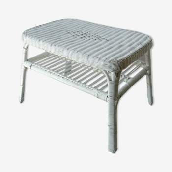 Table rotin blanc