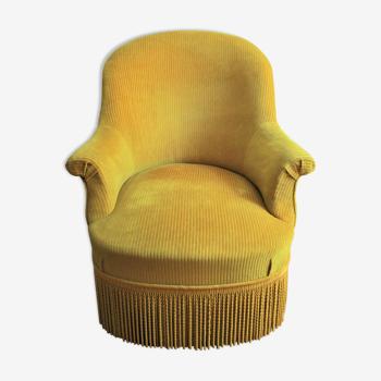 Fauteuil crapaud style Napoléon III velours côtelé jaune moutarde