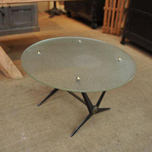 Table basse metal et verre 1950