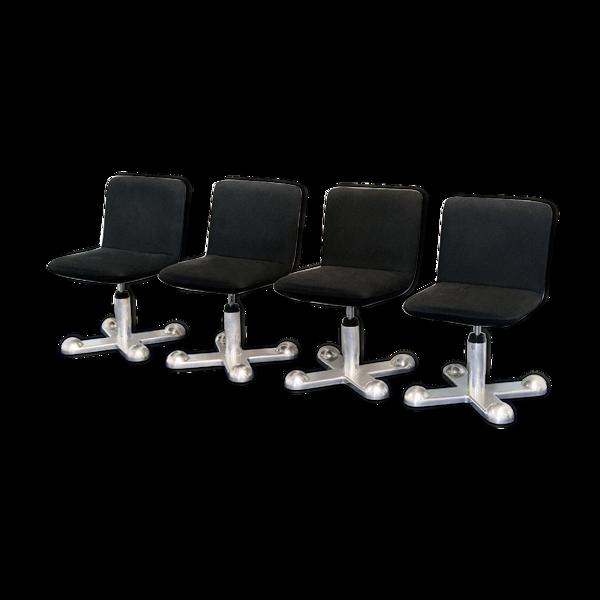 Selency Série de 4 chaises design roues King & Miranda pour Planula années 1970