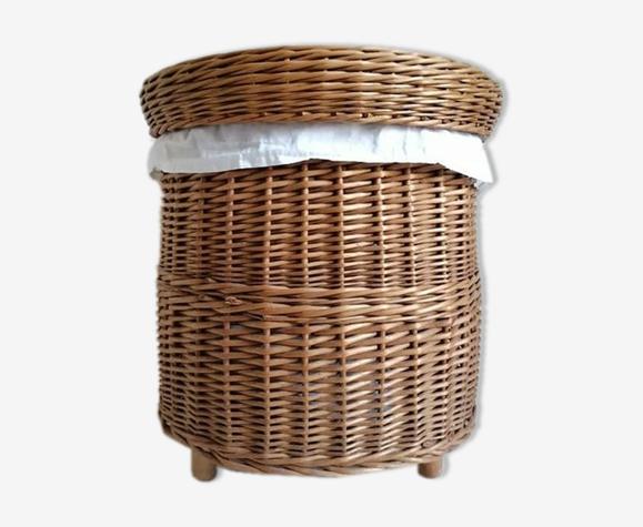 Panier à linge vintage en osier fabriqué à la main dans les années 1970