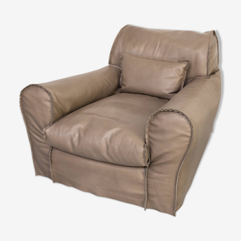 """07s Paola Navone """"housse"""" fauteuil plume cuir forestier pour Baxter"""